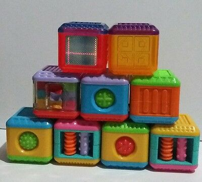 Fisher Price Peek-a-Boo Blocks Lot of 9 Touch and Feel