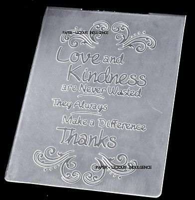 New••gorgeous •• Kindness Thanks  •• Embossing Folder ••fits Cuttlebug + Sizzix