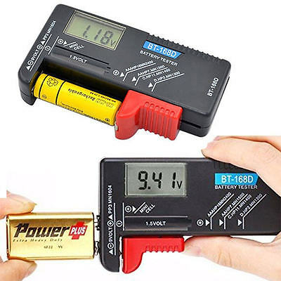 Universal Digital LCD Battery Checker Volt Tester Cell AA AAA C D 9V 1.5V Button