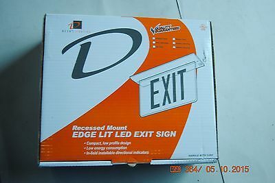 Green LED  Exit Light Sign Recessed Edge Lit  DOUBLE SIDE AC ONLY deco lightning