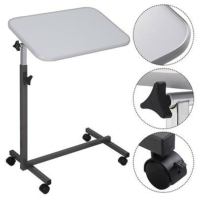 US Overbed Table Food Tray Top Bed Hospital Adjustable Rolling Laptop Desk Gray