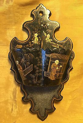 Antique Chinese / Japanese Wall Mount Double Pocket Painted Lacquer Match Holder