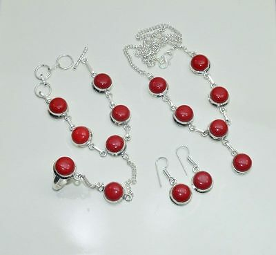 Wholesale 4Pc 925 Silver Plated Red Coral Earring-Necklace-Bracelet-Ring Mix Lot