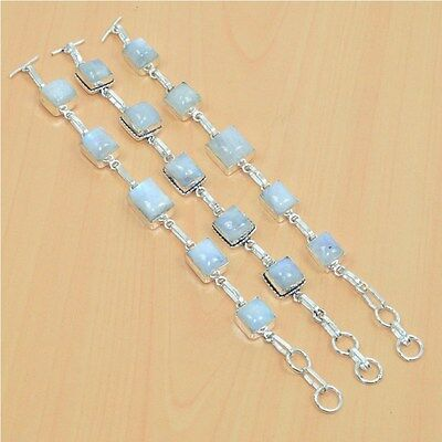 925 Sterling Silver Plated Wholesale 3Pc White Rainbow Moon Stone Bracelet Lot