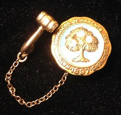 Vintage National Congress of Parents & Teachers Gold/Enamel Pin with Gavel NA6