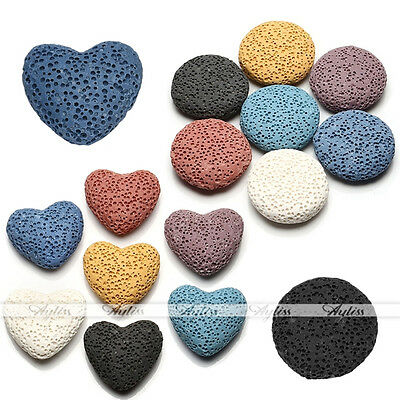 Chic Heart Round Lava Rock Stone Bead Fit Openable Perfume Oil Diffuser Locket
