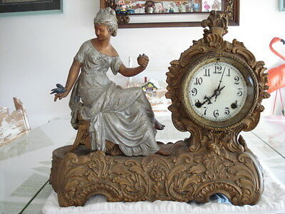 Vintage Antique French Looking Mantle Clock with Lady and Bird on Bench
