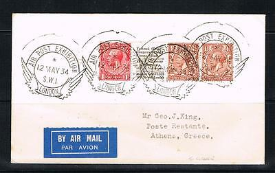 GV 1934 air post exhibition cover to greece
