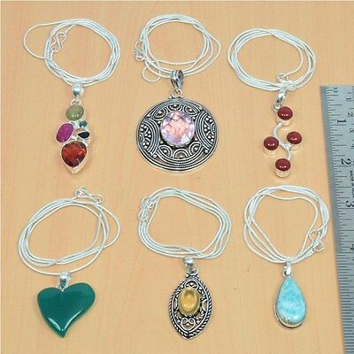Wholesale 6Pc 925 Silver Plated Faceted Garnet & Mix Stone Pendant & Chain Lot