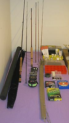 Fly Fishing Gear - 2 complete sets with rods,reels, flies and lines
