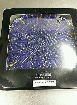 NWT KIM SEYBERT  Blue Gold Beaded COASTERS SET OF 4 Neiman Marcus Holiday