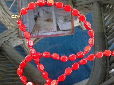 Vintage red glass, beaded necklace.
