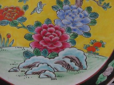"""Antique Bright Colourful Japanese Charger Plate Birds Peonies & Fruit Tree 12"""""""