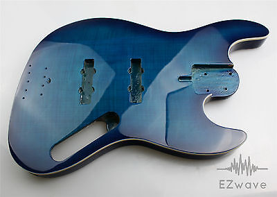 Blue Burst Finish 4-String Alder with Flame Maple Top Body for Jazz Bass