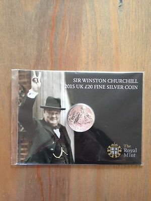 Sir Winston Churchill 2015 UK £20 Fine Silver Coin. Limited Edition