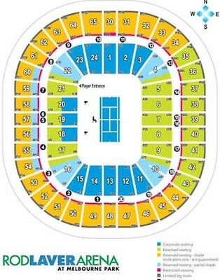 2 x AUSTRALIAN OPEN TICKETS - ROD LAVER ARENA - MON 23RD JAN - DAY SESSION