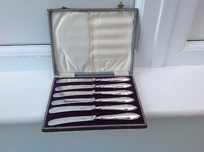 Vintage Hallmarked Silver butter tea knives set of 6 boxed