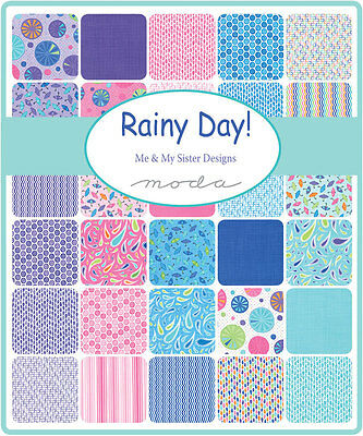 Patchwork/quilting Fabric Moda Charm Squares/packs - Rainy Days