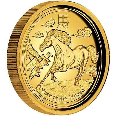 Rare Perth Mint 2014 YEAR OF THE HORSE 1oz PURE GOLD Proof High Relief Coin