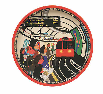 Paul Thurlby City Underground Large Round Deepwell Sturdy Metal Tin Tray 30cm