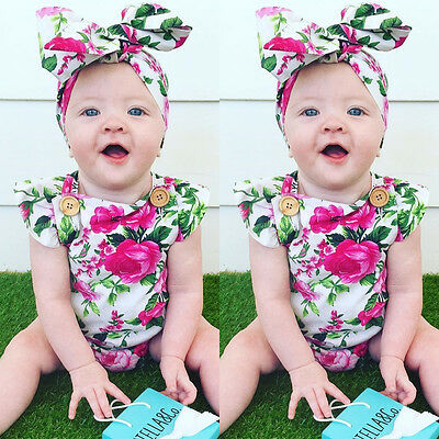 Floral Newborn Infant Baby Girl Bodysuit Romper Jumpsuit Clothes Outfits Sunsuit