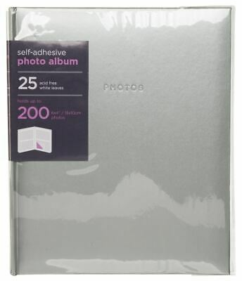 WHSmith Large Silver Photo Album 25 White Self Adhesive Leaves Holds 200 Photos