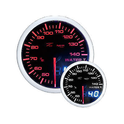 Depo Racing 60 mm Smoked 2 Color Red and White Dual View Water Temperature Gauge