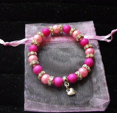 Girls Jewellery Pink Heart Charm Bracelet, Elasticated, Gift, Party.