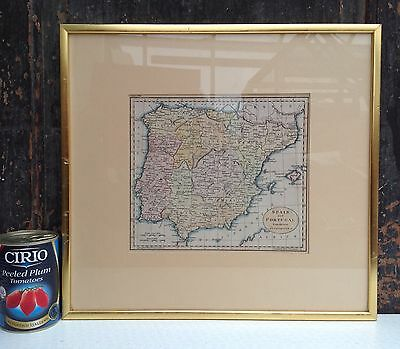 Print of an old map of Spain and Portugal framed
