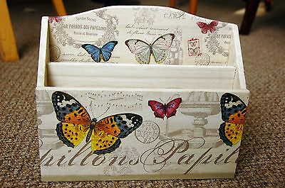 Wooden hand made letter rack with butterfly - shabby chic
