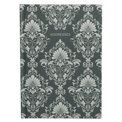 Grey Damask Pattern A5 Address Book With A-Z Tabbed Index And line space