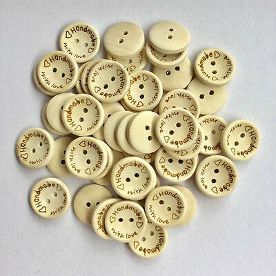 """100pcs Wooden Buttons """"Handmade"""" with love"""" Lettering 2 Hole Sewing Craft 15mm"""
