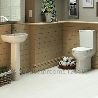 Harmony 4 Piece Bathroom Modern Suite Toilet WC Basin, Pedestal, Seat