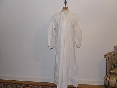 Vintage Nightdress White Crackling Cotton Embroidery&crochet Lace Hand Finished