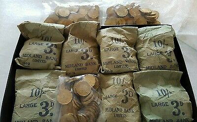 Jersey: 400x uncirculated one fourth shillings (3d) with 7 bank bags 10/-