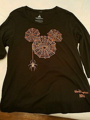 Mickey Icon Womens Spider Halloween 2016 Shirt Tee L Extra Large Disney Parks
