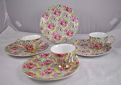 Chintz Pattern 9306 - Porcelain - Luncheon Plates And Cups