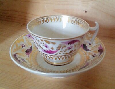 Antique Bloor Derby Georgian Cup and Saucer c.1825