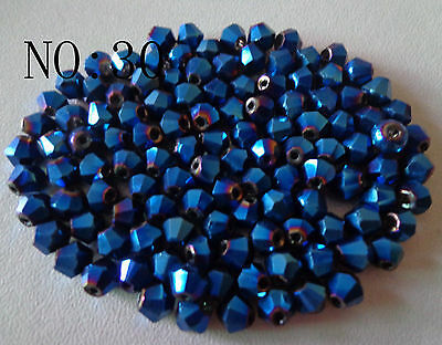 200pcs 4mm 5301# Bicone Faceted Glass Crystal Loose Spacer Beads Dark Blue AB