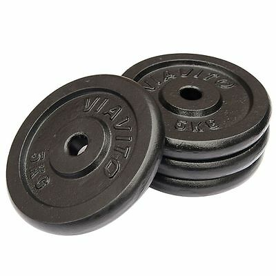 "Viavito Cast Iron 5kg 1"" Standard Barbell Dumbbell Disc Weight Plates"