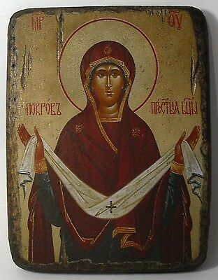 Handmade copy ancient icon ORTHODOX CHURCH ICON Protection of the Theotokos 30M