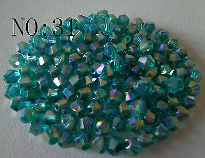 200pcs 4mm 5301# Bicone Faceted Glass Crystal Loose Spacer Beads Hole Green AB