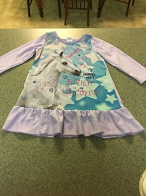 The Children's Place Toddler Girl Long Sleeve Unicorn Cotton Nightgown, Size 2T