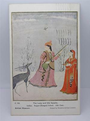 *antique Lady And The Gazelle Indian Postcard-British Museum C1925*
