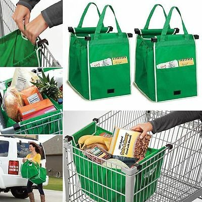 4X Reusable Shopping Grab Bags Eco Foldable Trolley Tote Grocery Clip To Cart