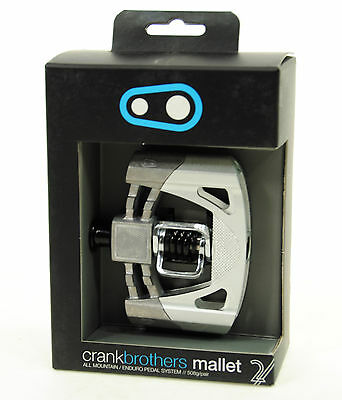 Crank Brothers Mallet 2 Platform Mountain Bike Pedals, Raw/Silver