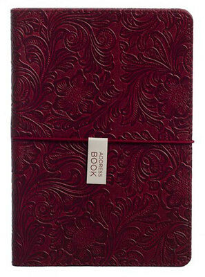 WHSmith A5 Address Book Red PU Embossed Floral Pattern With A-Z Tabbed Index