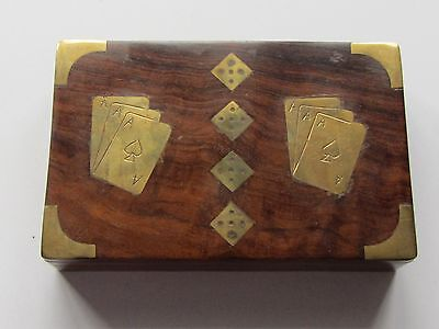 Twin Wooden Playing Card Box with Playing Cards    NO 15