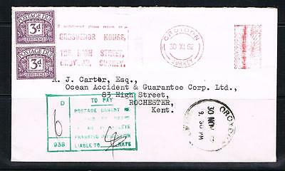 QEII 1962 cover croydon to rochester with 6d postage due