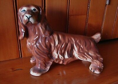 "Large Vintage 1957 Porcelain Liver Roan Sussex Spaniel Dog Figurine 8½"" x 6¾"""